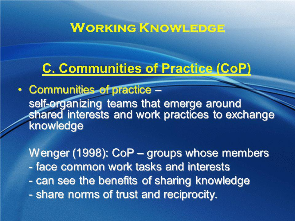 C. Communities of Practice (CoP)