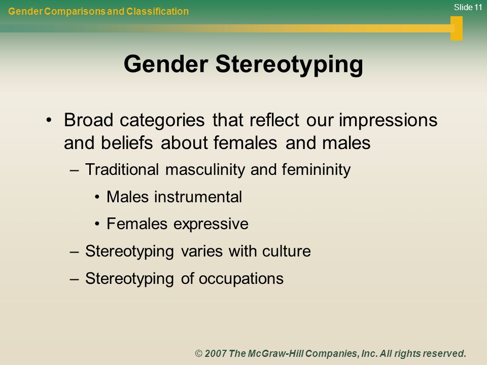 Gender Comparisons and Classification