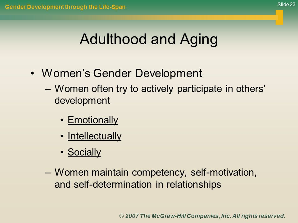 Adulthood and Aging Women's Gender Development