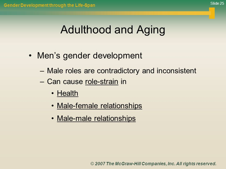 Adulthood and Aging Men's gender development