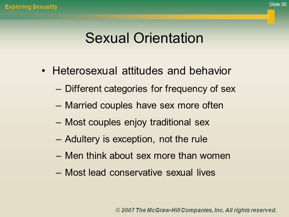 Sexual Orientation Heterosexual attitudes and behavior