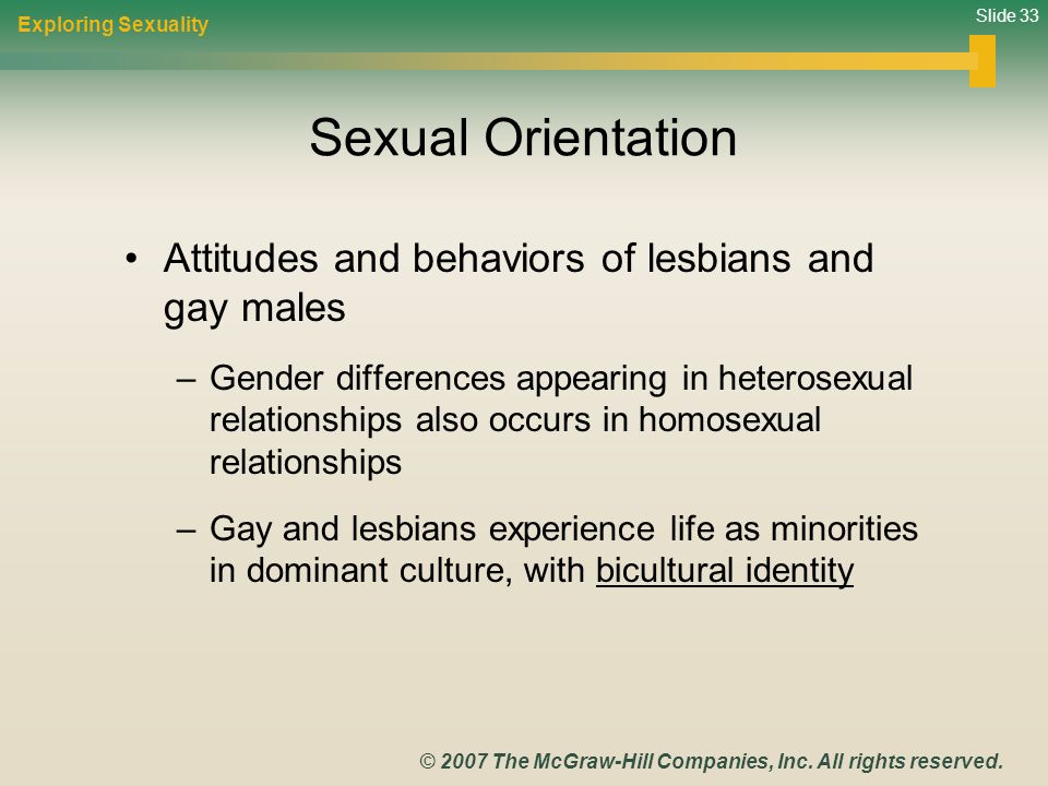 Sexual Orientation Attitudes and behaviors of lesbians and gay males