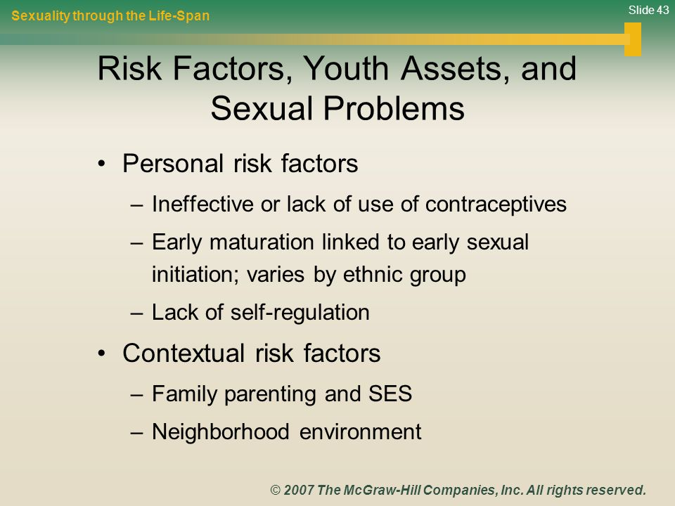 Risk Factors, Youth Assets, and Sexual Problems