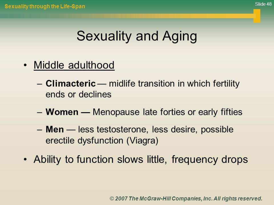Sexuality and Aging Middle adulthood