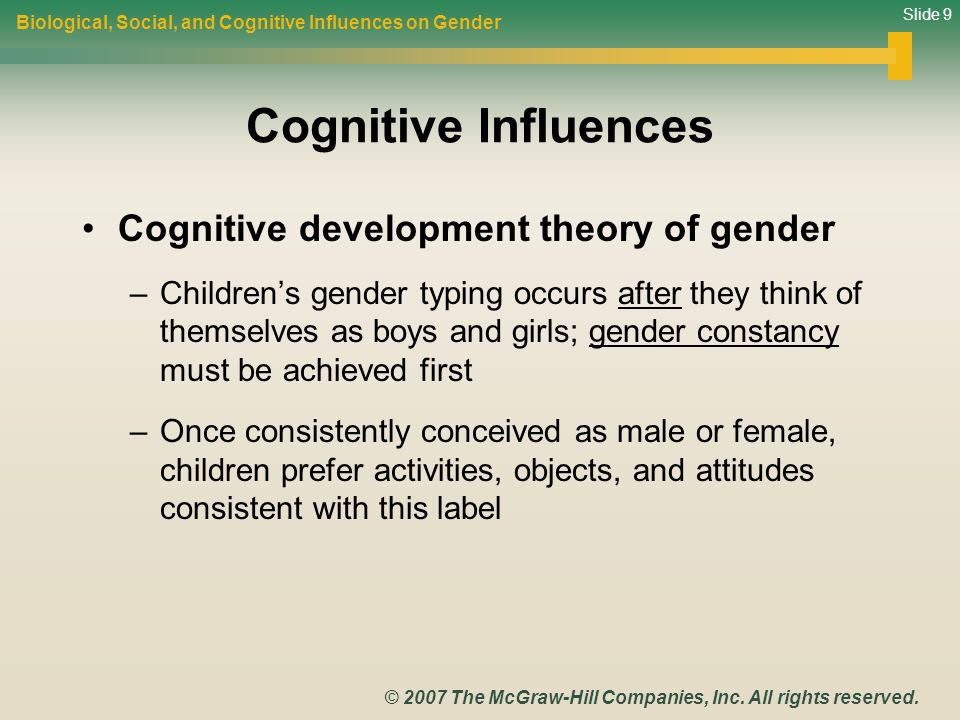 Cognitive Influences Cognitive development theory of gender