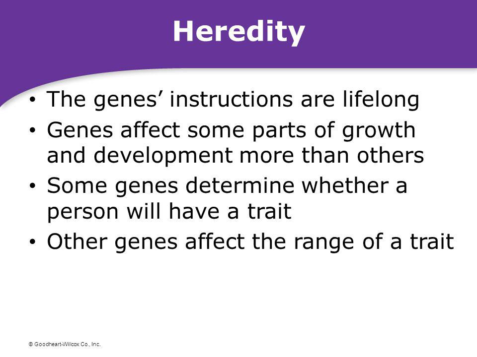 Heredity The genes' instructions are lifelong