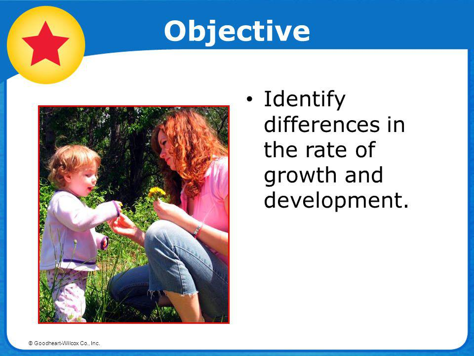 Objective Identify differences in the rate of growth and development.