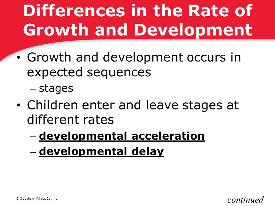 Differences in the Rate of Growth and Development