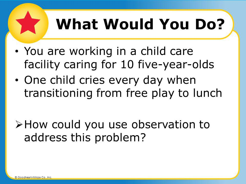 What Would You Do You are working in a child care facility caring for 10 five-year-olds.