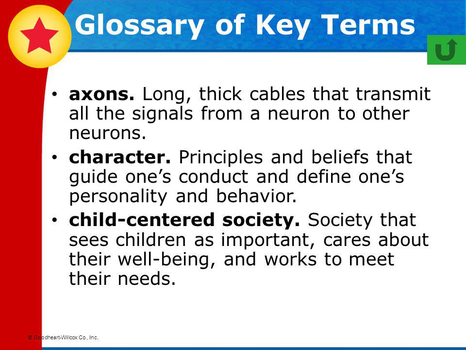 Glossary of Key Terms axons. Long, thick cables that transmit all the signals from a neuron to other neurons.