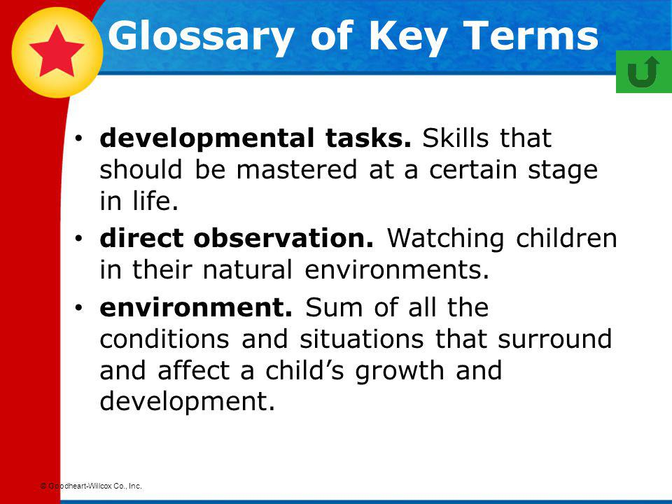 Glossary of Key Terms developmental tasks. Skills that should be mastered at a certain stage in life.