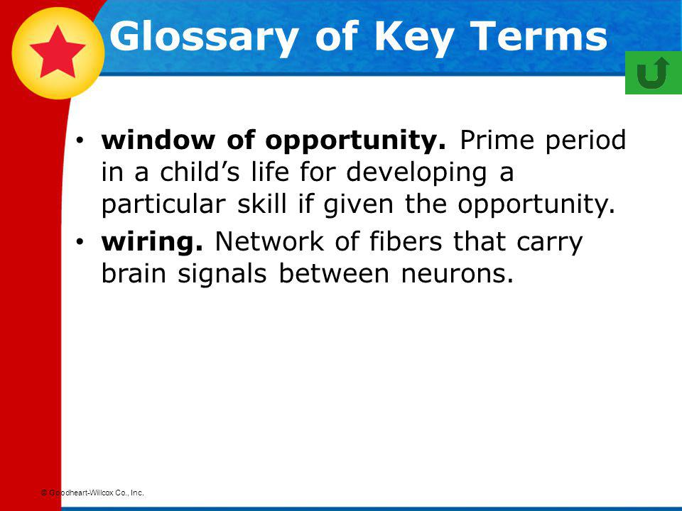 Glossary of Key Terms window of opportunity. Prime period in a child's life for developing a particular skill if given the opportunity.