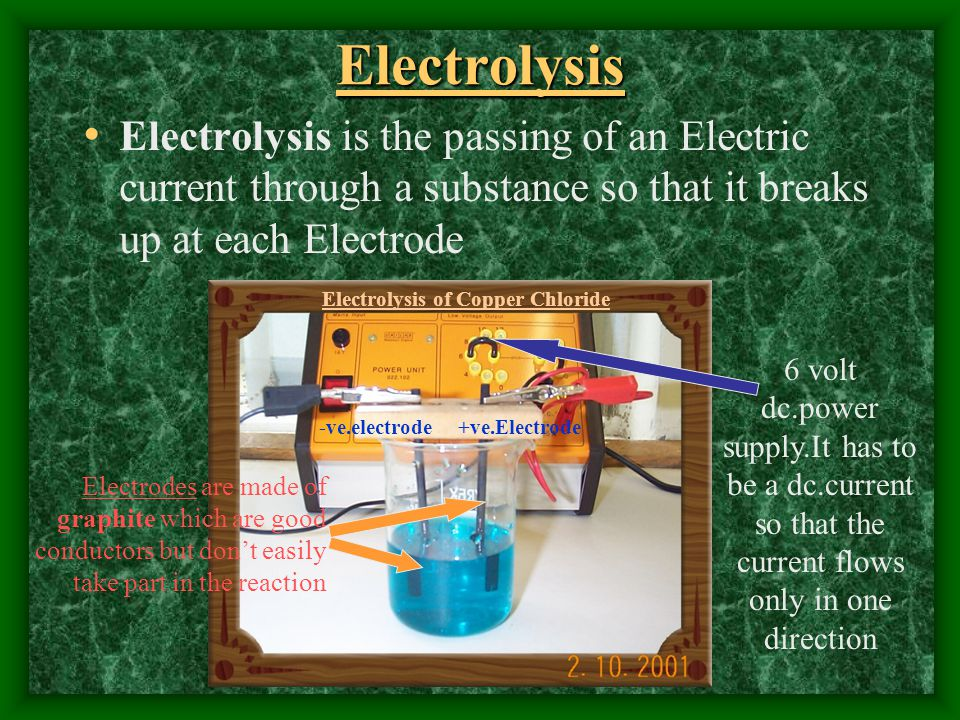 Electrolysis Electrolysis is the passing of an Electric current through a substance so that it breaks up at each Electrode.