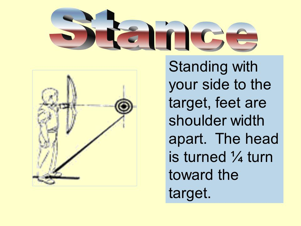 Stance Standing with your side to the target, feet are shoulder width apart.