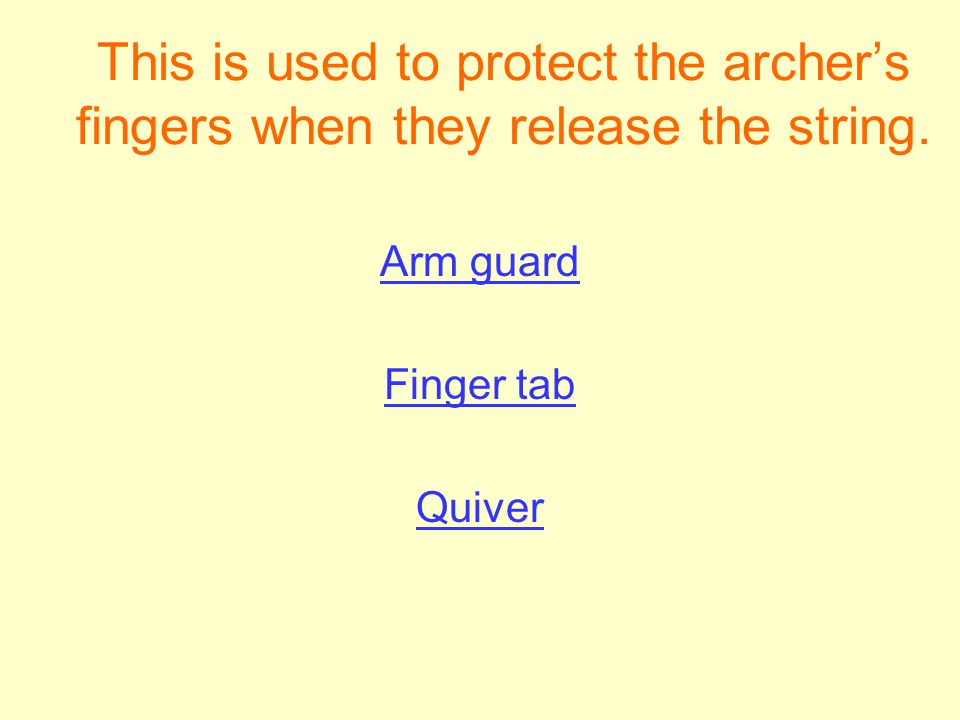 This is used to protect the archer's fingers when they release the string.