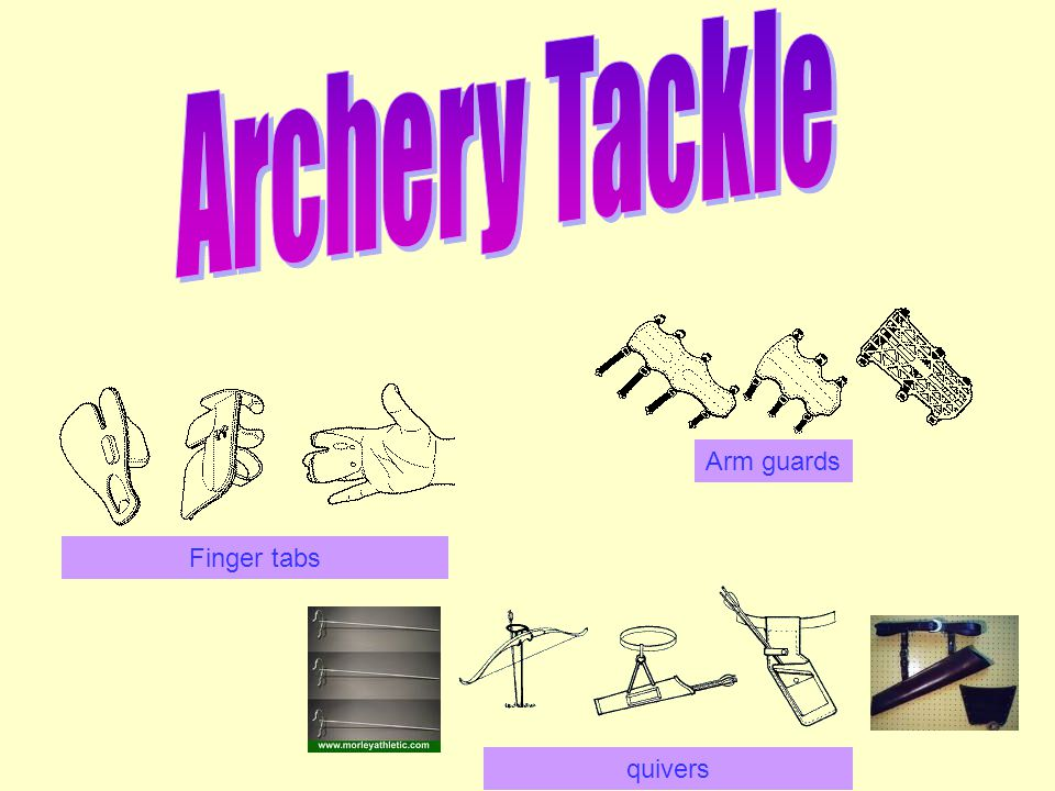 Archery Tackle Arm guards Finger tabs quivers