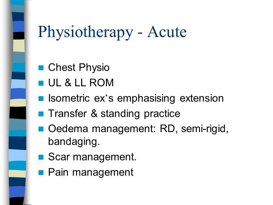 Physiotherapy - Acute Chest Physio UL & LL ROM