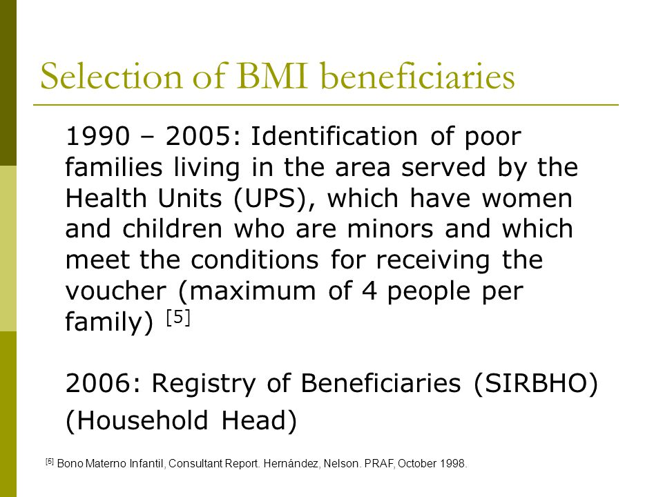 Selection of BMI beneficiaries