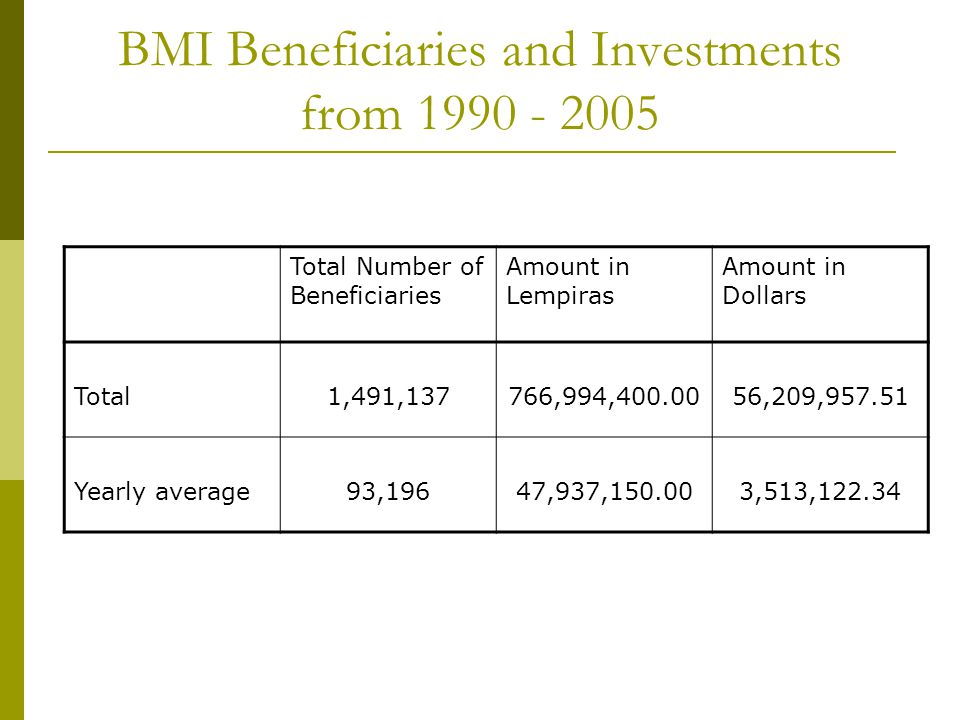 BMI Beneficiaries and Investments from 1990 - 2005