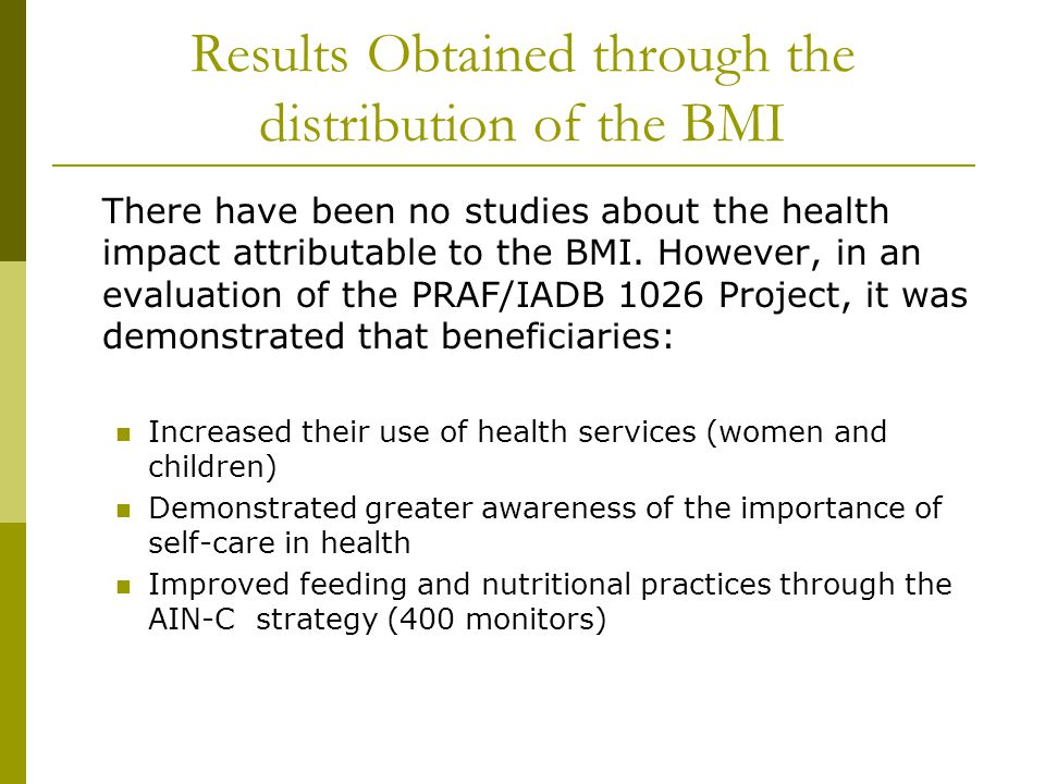 Results Obtained through the distribution of the BMI