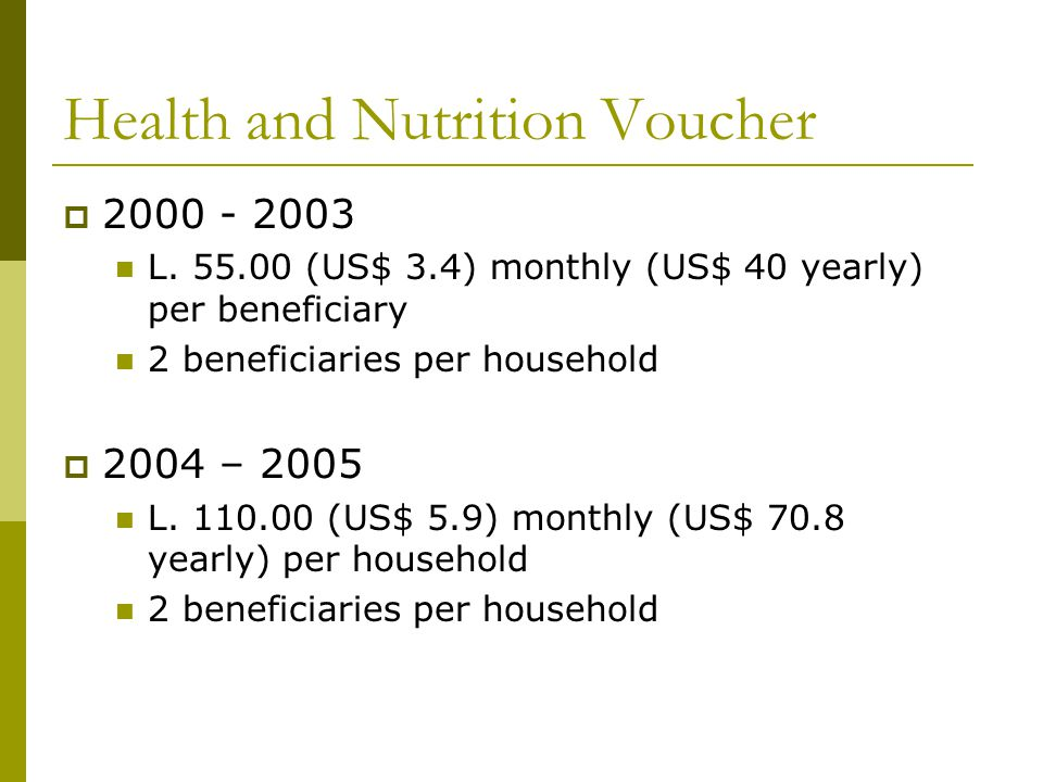 Health and Nutrition Voucher