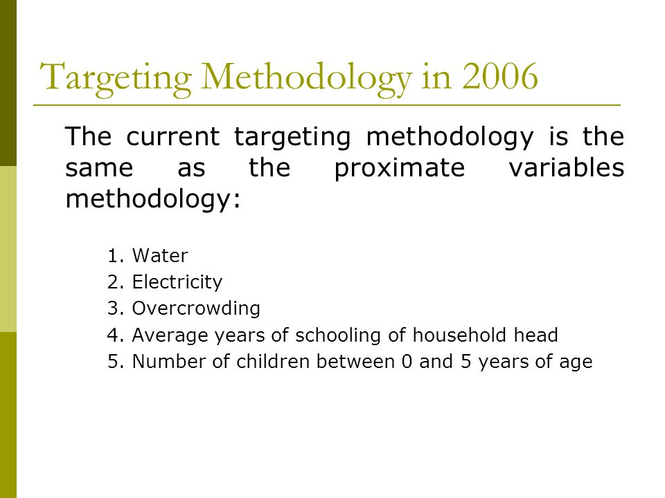 Targeting Methodology in 2006