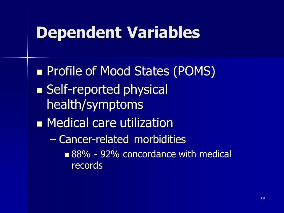 Dependent Variables Profile of Mood States (POMS)
