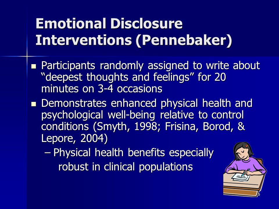 Emotional Disclosure Interventions (Pennebaker)