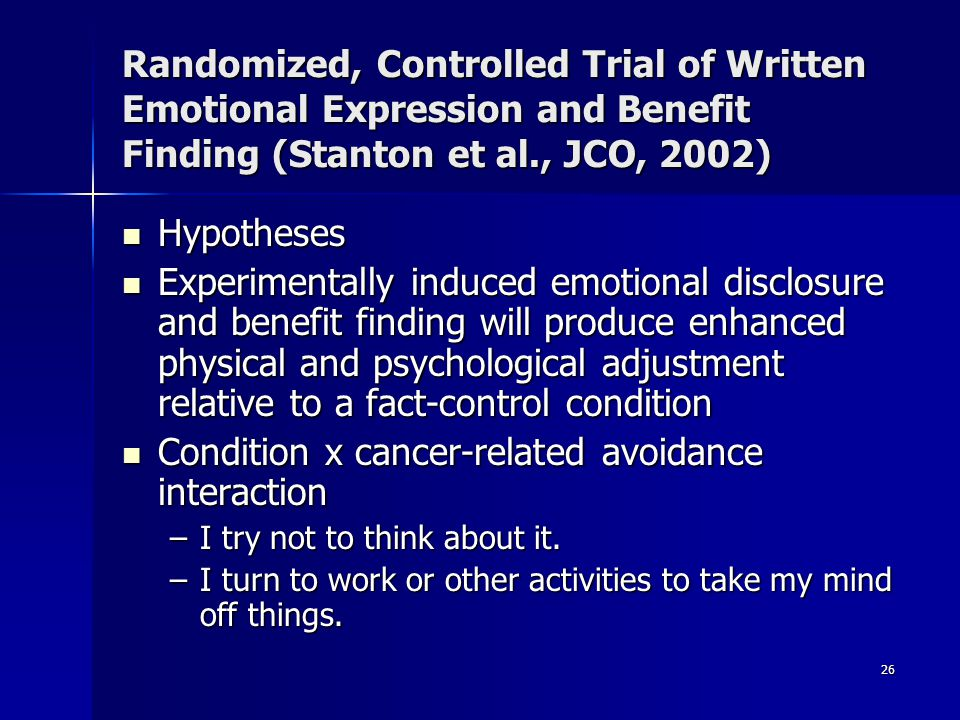 Condition x cancer-related avoidance interaction