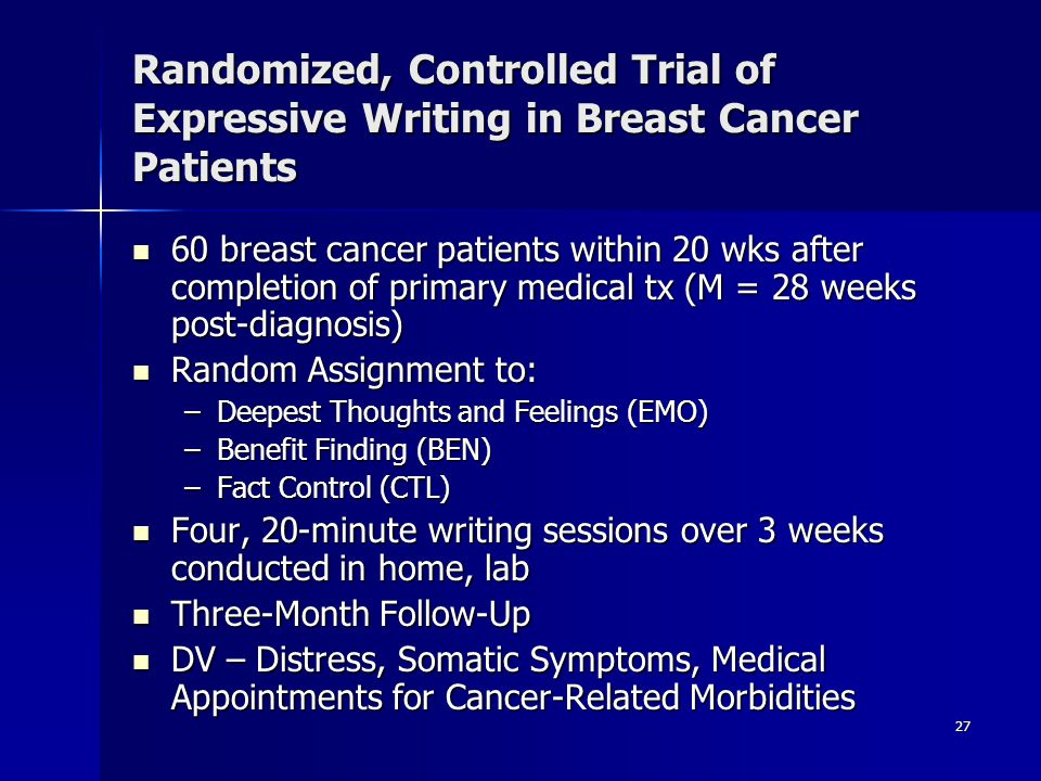Randomized, Controlled Trial of Expressive Writing in Breast Cancer Patients