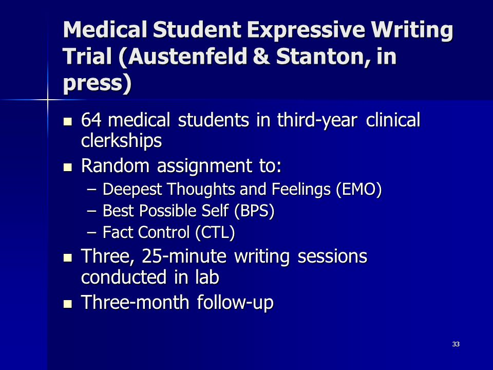 Medical Student Expressive Writing Trial (Austenfeld & Stanton, in press)