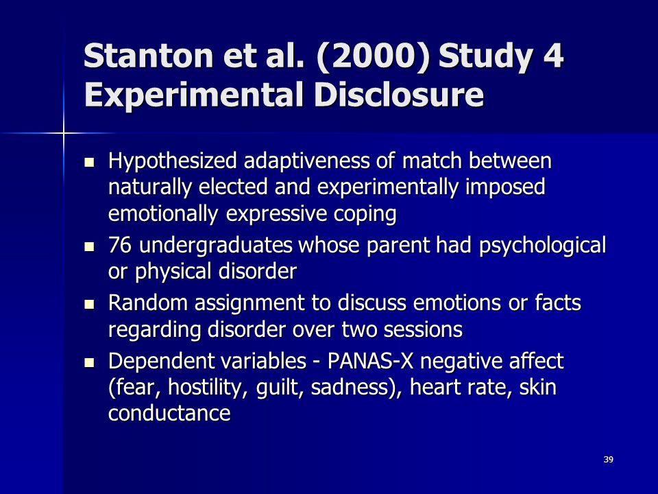 Stanton et al. (2000) Study 4 Experimental Disclosure