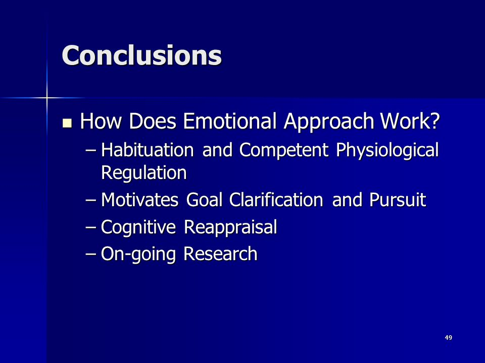 Conclusions How Does Emotional Approach Work