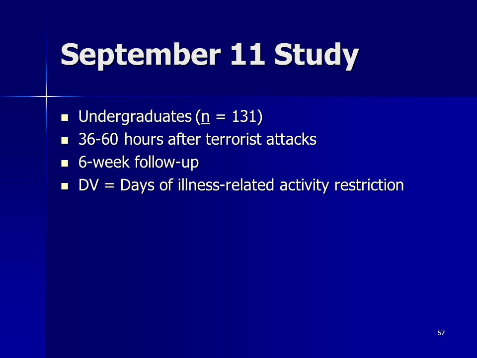 September 11 Study Undergraduates (n = 131)