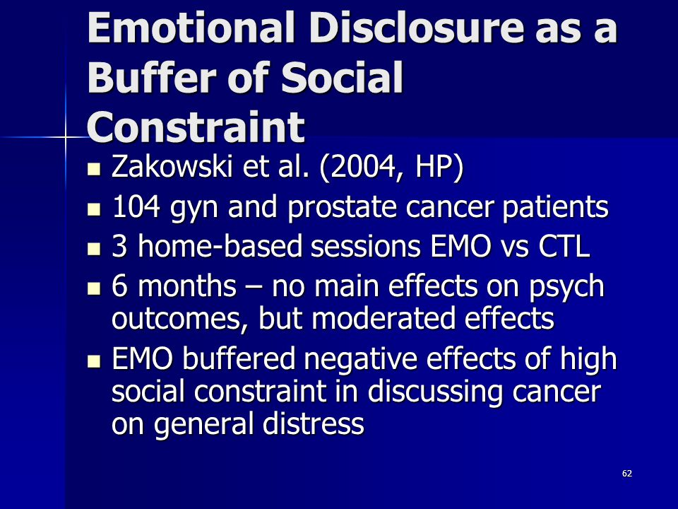Emotional Disclosure as a Buffer of Social Constraint