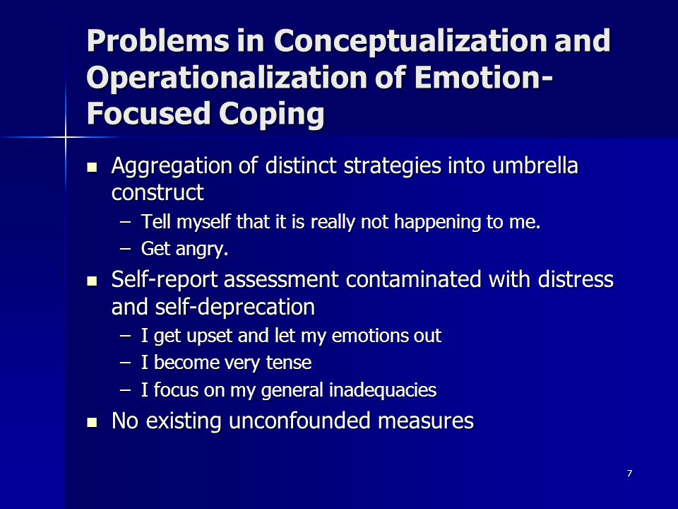 Problems in Conceptualization and Operationalization of Emotion-Focused Coping