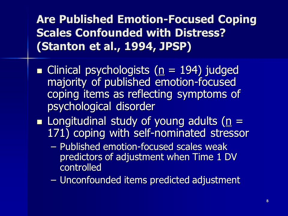 Are Published Emotion-Focused Coping Scales Confounded with Distress