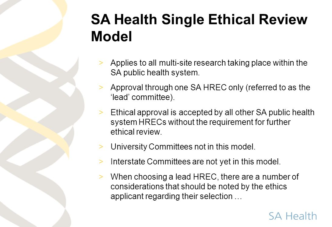 SA Health Single Ethical Review Model