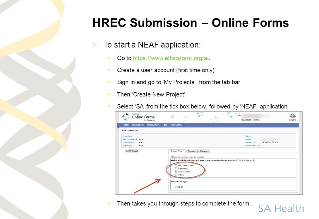 HREC Submission – Online Forms