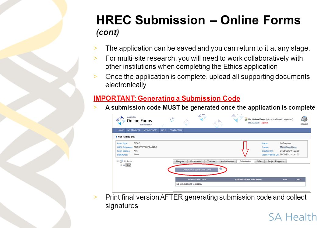 HREC Submission – Online Forms (cont)