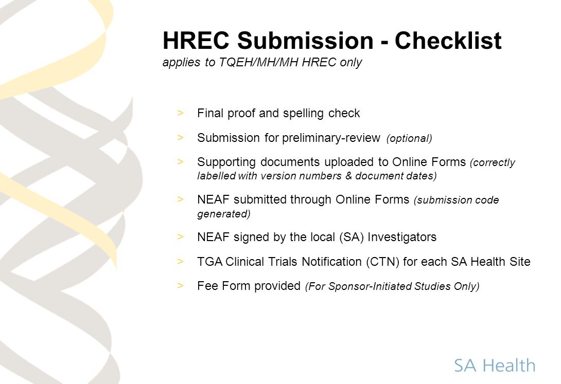 HREC Submission - Checklist applies to TQEH/MH/MH HREC only