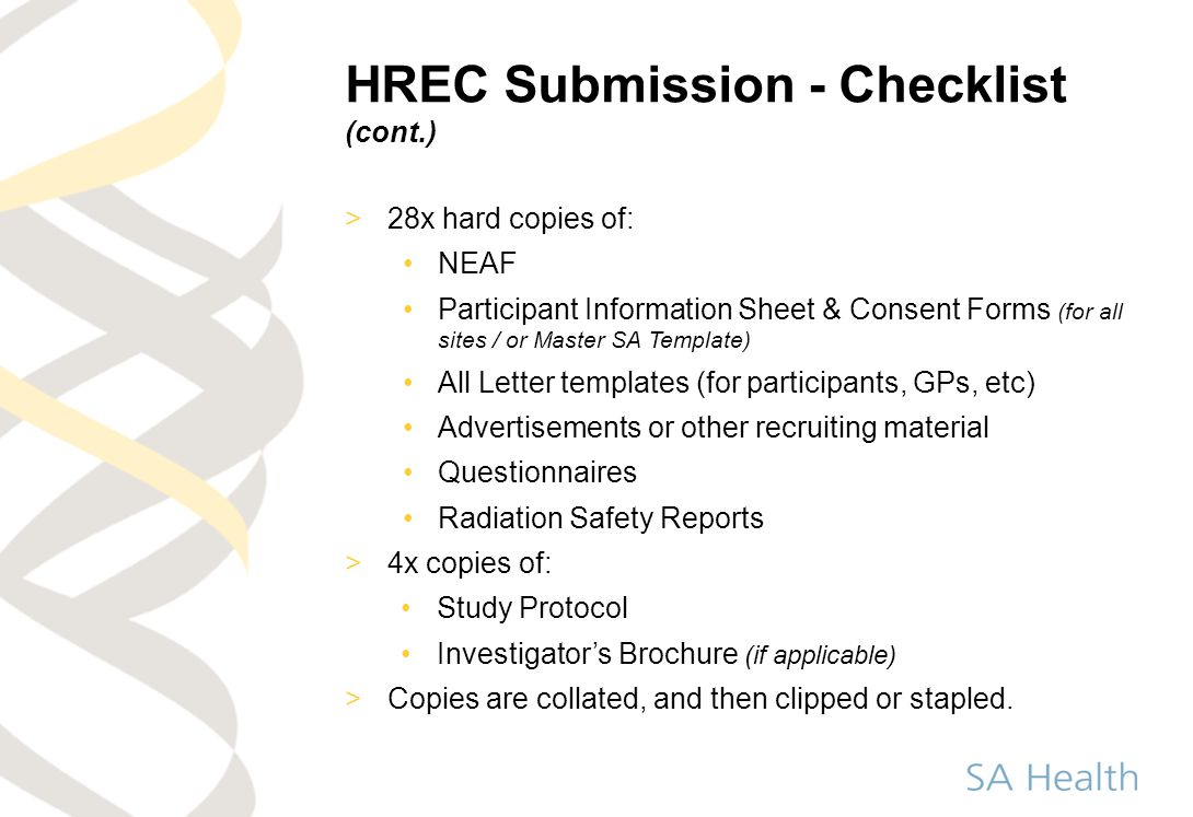 HREC Submission - Checklist (cont.)