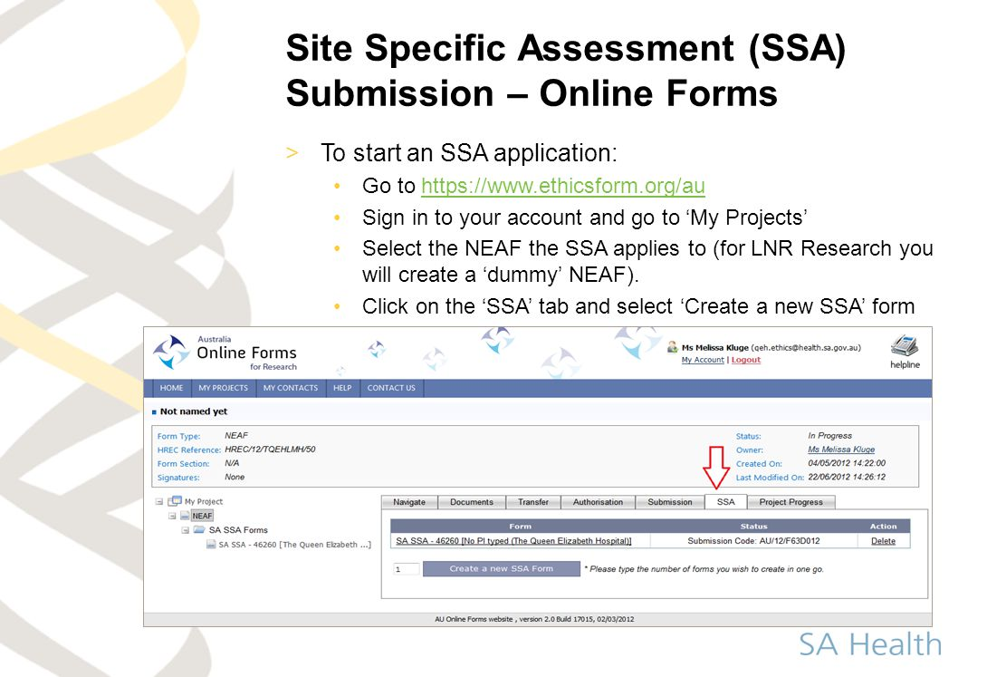 Site Specific Assessment (SSA) Submission – Online Forms