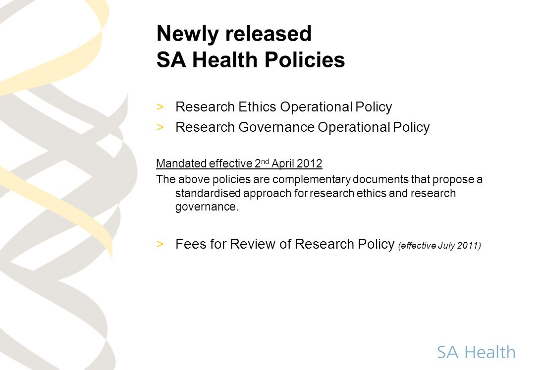 Newly released SA Health Policies