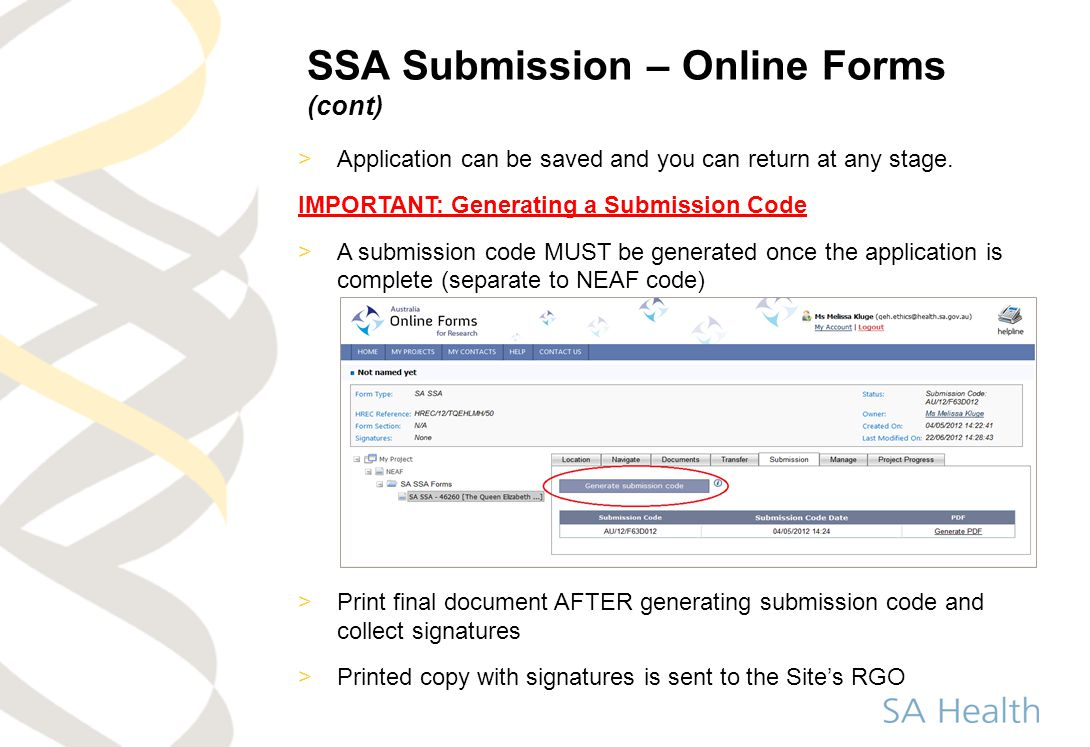 SSA Submission – Online Forms (cont)