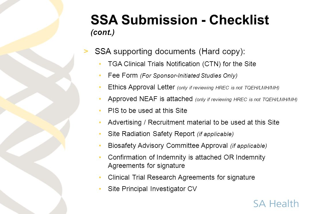 SSA Submission - Checklist (cont.)