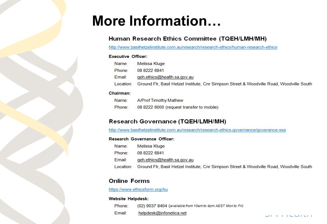 More Information… This contact details sheet is in your information pack.