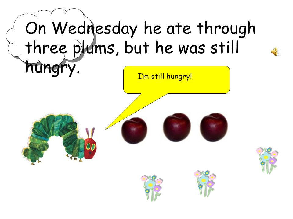 On Wednesday he ate through three plums, but he was still hungry.