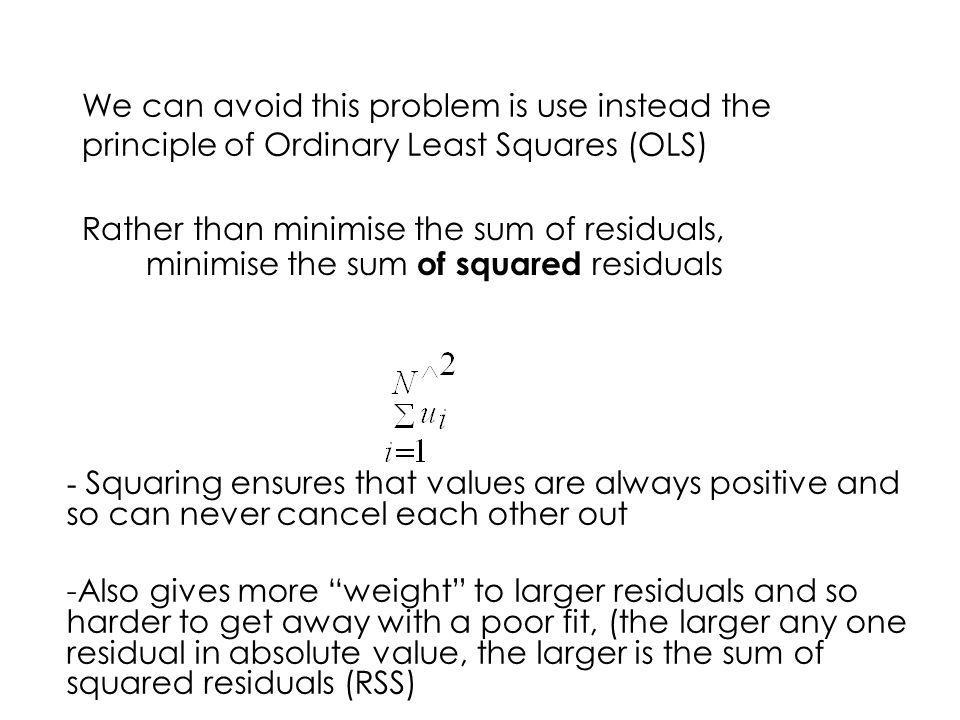 We can avoid this problem is use instead the principle of Ordinary Least Squares (OLS)