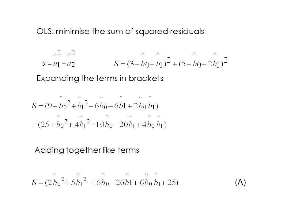 OLS: minimise the sum of squared residuals